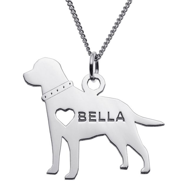 Sterling Silver Labrador Silhouette Necklace