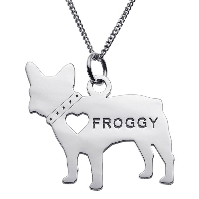 Sterling Silver French Bulldog Silhouette Necklace