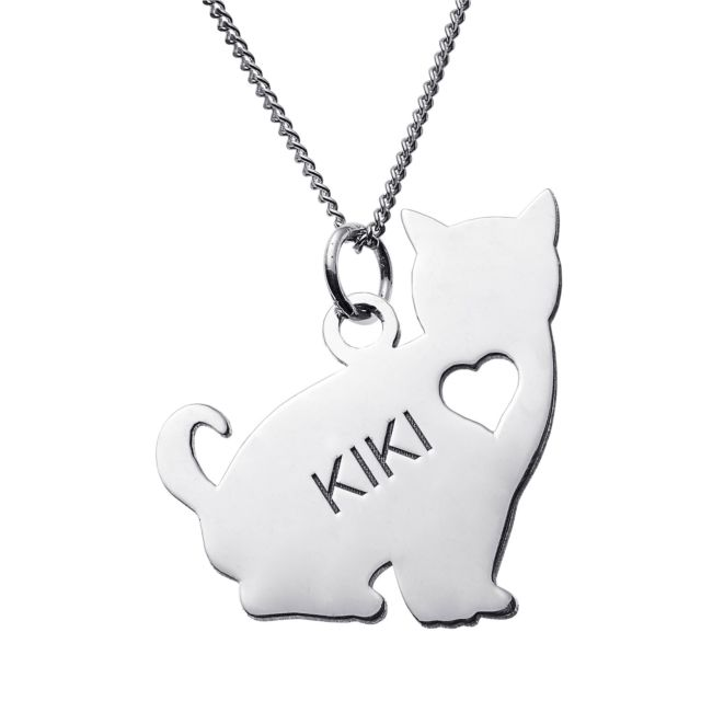 Sterling Silver Sitting Cat Silhouette Necklace