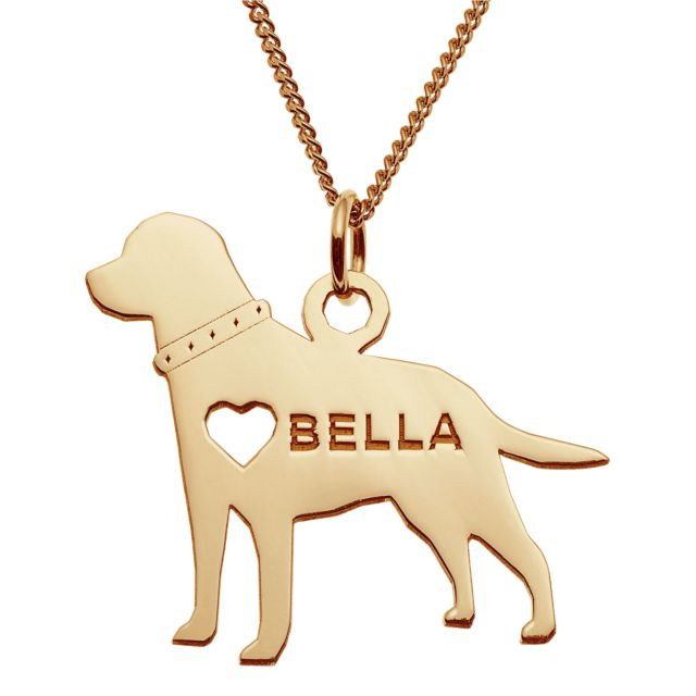 14K Gold over Sterling Labrador Silhouette Necklace