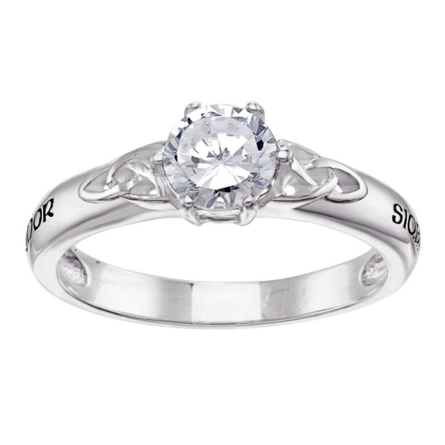 Sterling Silver Couples Name Celtic CZ Wedding Ring
