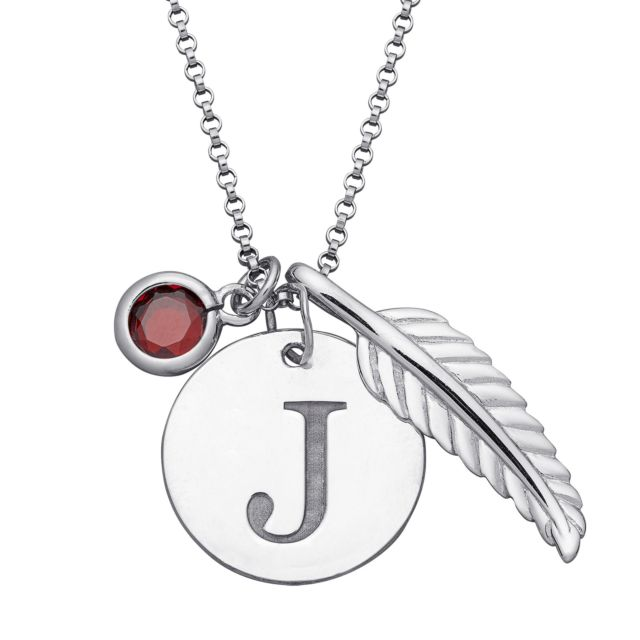 Sterling Silver Initial Disc, Birthstone and Leaf Charm Necklace