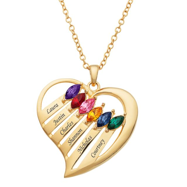 Gold  Plated Family Name & Marquise Birthstone Heart Pendant