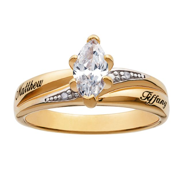 Gold over Sterling CZ Diamond Wedding Name Ring