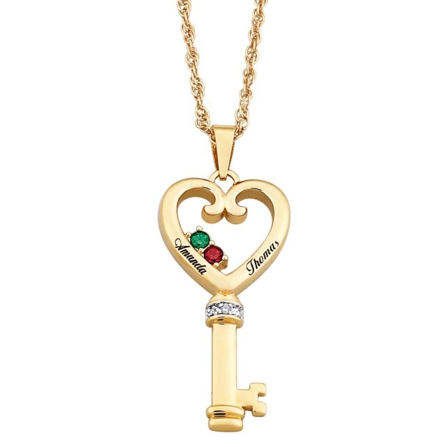 Couples Name & Birthstone Heart Key Necklace with Diamond Accent