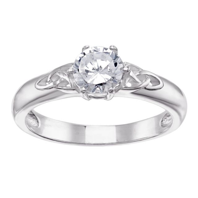 Sterling Silver Engraved Message Celtic CZ Wedding Ring