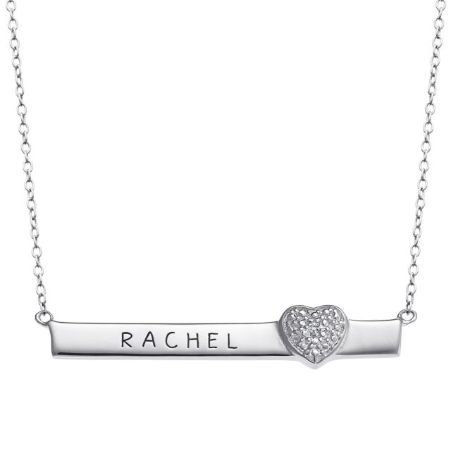 Sterling Silver Diamond Accent Heart Name Plaque Necklace