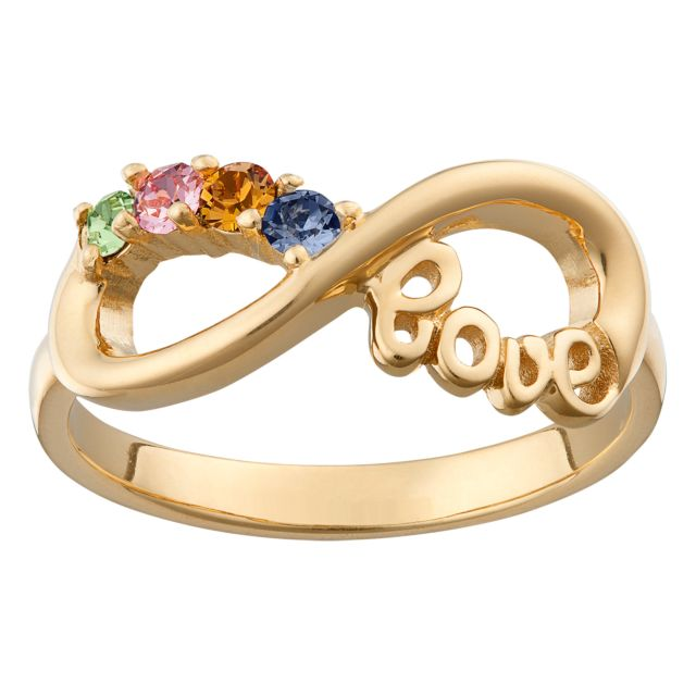 Gold over Sterling Silver Infinity LOVE Family 4 Stone Birthstone Ring