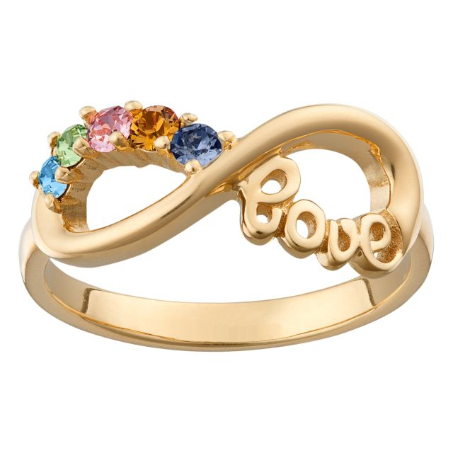 Gold over Sterling Silver Infinity LOVE Family 5 Stone Birthstone Ring