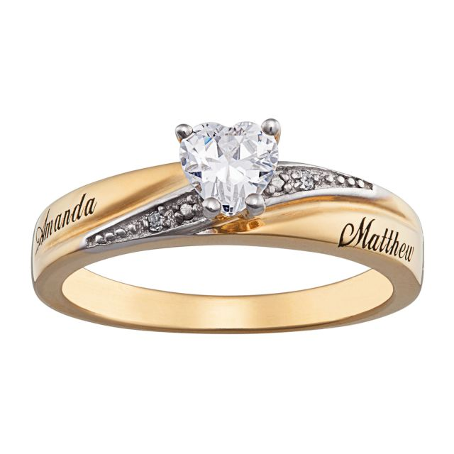 Gold Over Sterling Heart Cut C.Z. with Diamond Engravable Ring