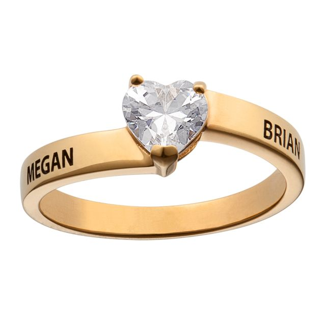 Gold over Sterling Fancy Heart Cut CZ Couples Ring
