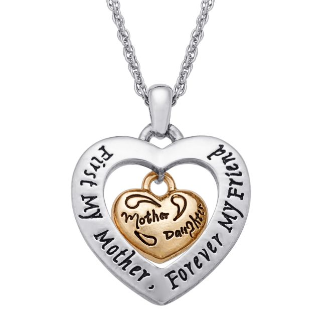 Two-Tone Dangling Mother/Daughter Heart Sentiment Pendant