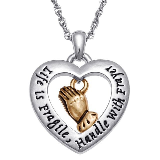 Two-Tone Dangling Praying Hands Sentiment Heart Pendant