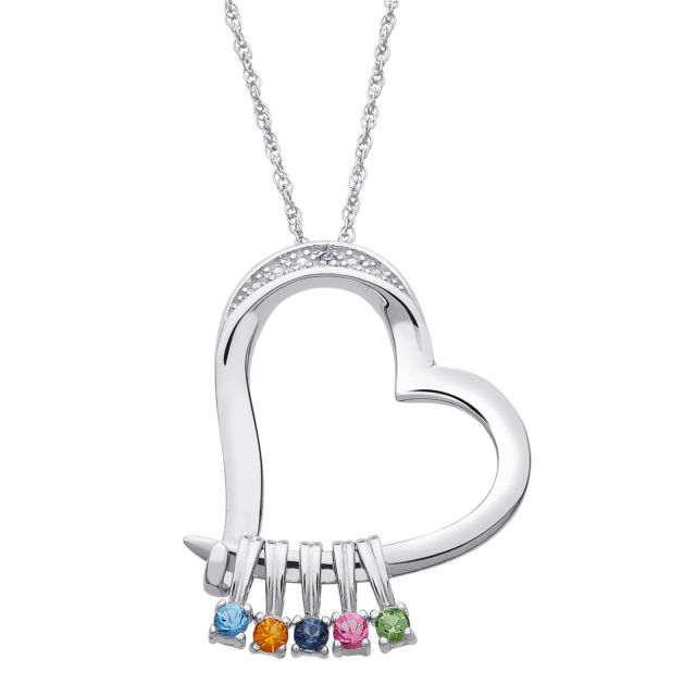 Sterling Silver Family Heart Slider Pendant with Diamond
