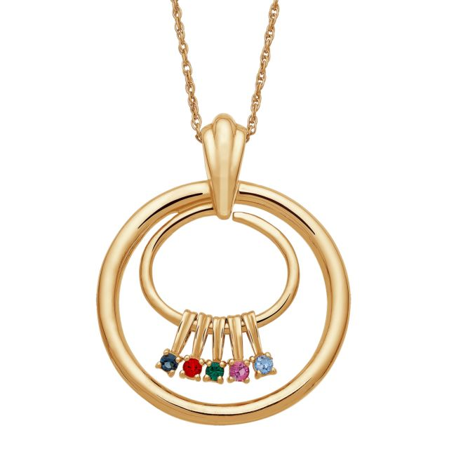 Gold over Sterling Family Birthstone Charm Circle Pendant