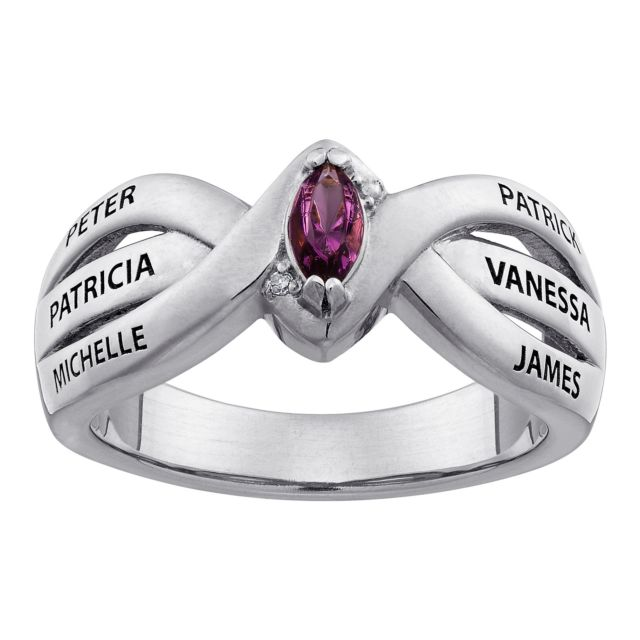 Sterling Silver Mother's Marquise Birthstone & Names Ring with Diamond