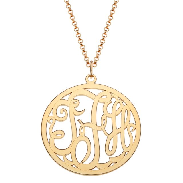 Gold Over Sterling Small Framed Monogram Pendant