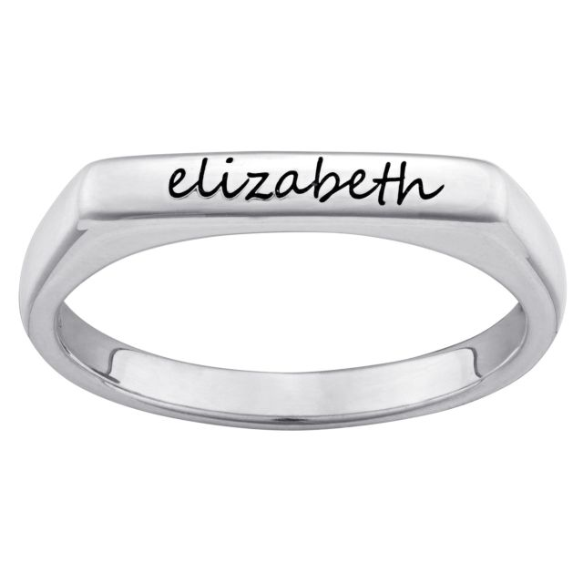 Sterling Silver Engraved Name Rectangular Stackable Ring