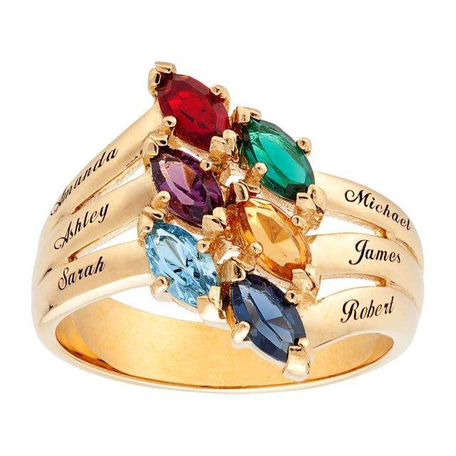 18K Gold over Sterling Family Marquise Birthstone Name Ring