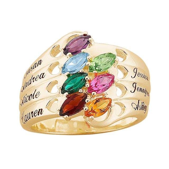 18K Gold over Sterling Family Name & Marquise Birthstone Hearts Ring
