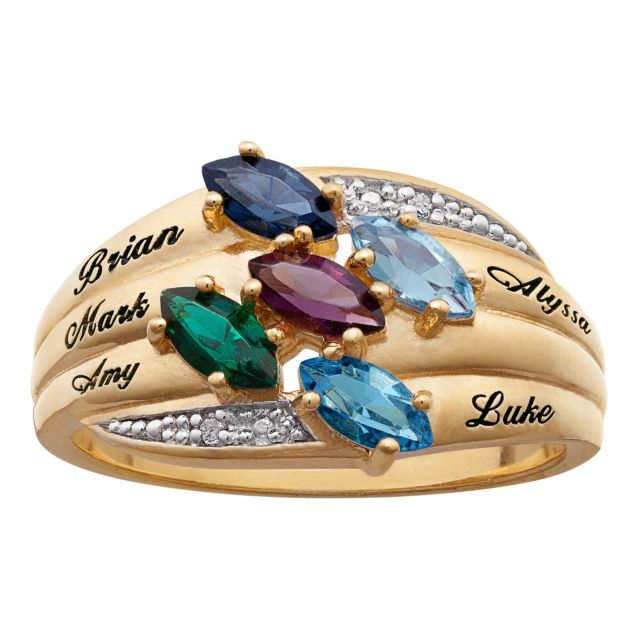 18K Gold Over Sterling Marquise Birthstone & Name Family Ring With Diamond Accent