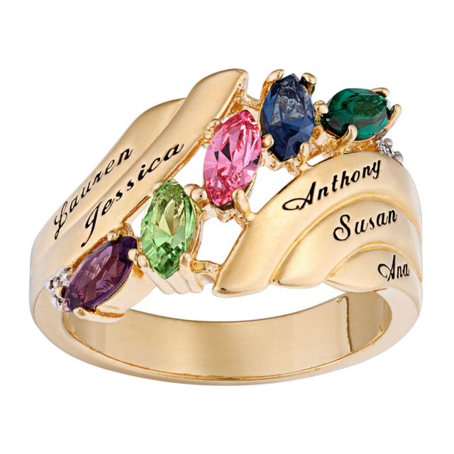 Family Marquise Birthstone Name Ring with Diamond Accent