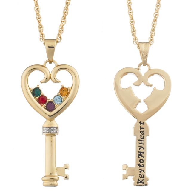 Key to my Heart Family Birthstone Necklace