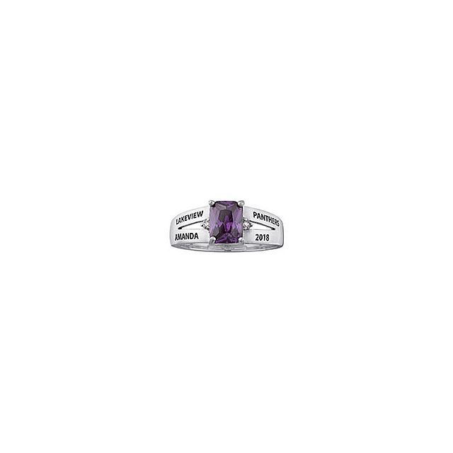 10K White Gold Emerald-cut Birthstone and Diamond Accents Class Ring