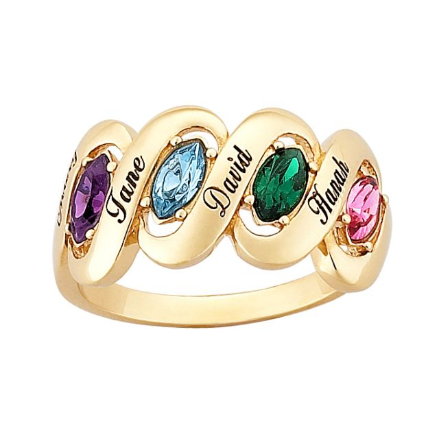 18K Gold over Sterling Family Name & Marquise Birthstone Ribbon Ring