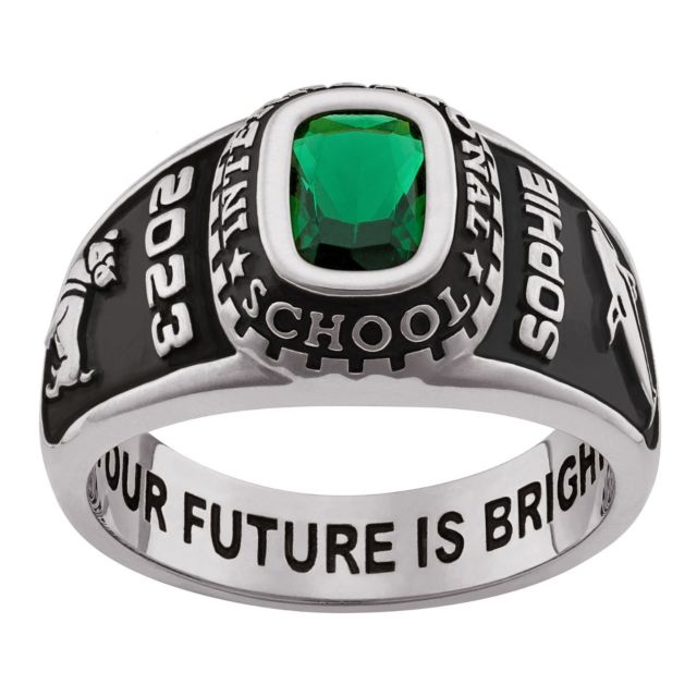 Ladies Sterling Silver Traditional Stone Class Ring