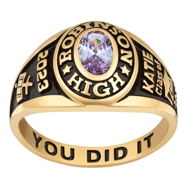 Ladies 18K Gold Over Sterling Traditional Petite Oval Birthstone Class Ring