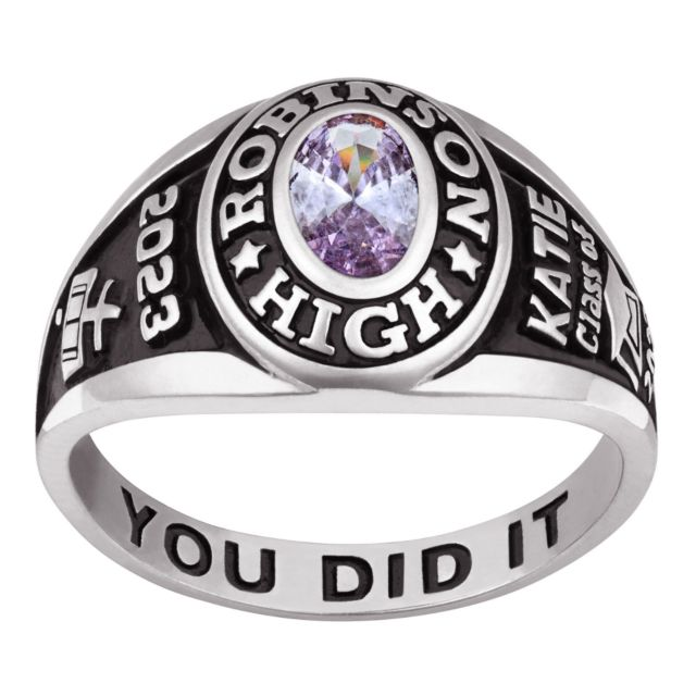 Ladies Sterling Silver Traditional Petite Oval Birthstone Class Ring