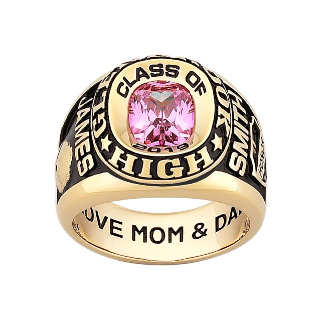 10K Yellow Gold Men's Double Row Traditional Class Ring