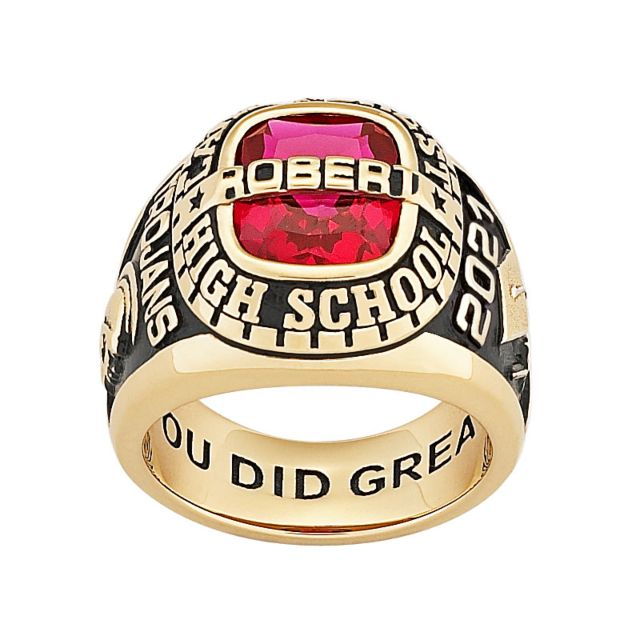 Men's Yellow CELEBRIUM Personalized-Top Traditional Class Ring
