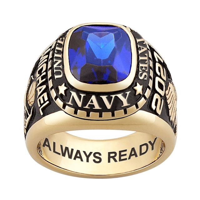 Men's 18K Gold over Sterling Traditional Birthstone MILITARY RING