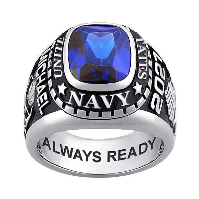 Men's Sterling Silver Traditional Birthstone MILITARY RING