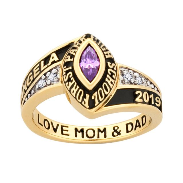 10K Yellow Gold Ladies Marquise Birthstone and CZ Class Ring