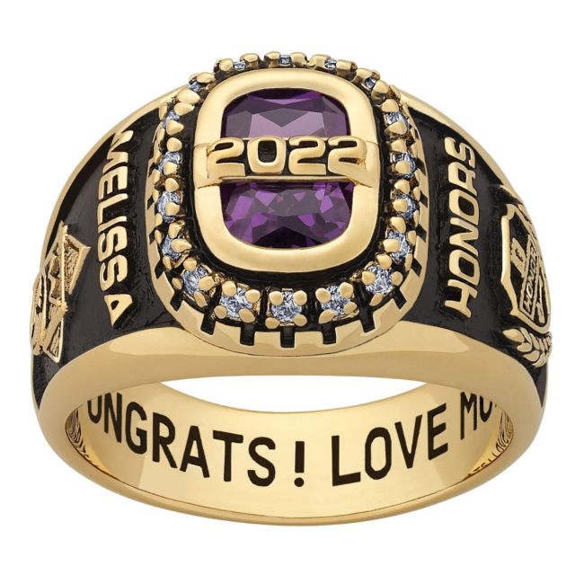 Ladies 18K Gold over Sterling CZ Encrusted Personalized Year Class Ring