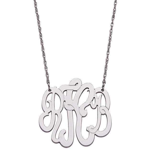 Sterling Silver 3 Initial Monogram Necklace - Medium