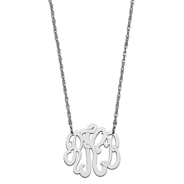 Sterling Silver 3 Initial Monogram Necklace - Petite
