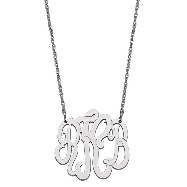 Sterling Silver 3 Initial Monogram Necklace - Small