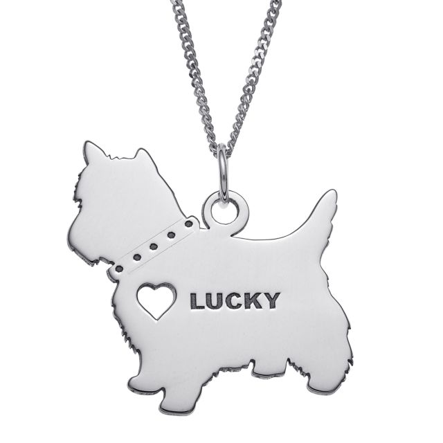 Sterling Silver Engravable Yorkie Dog Necklace