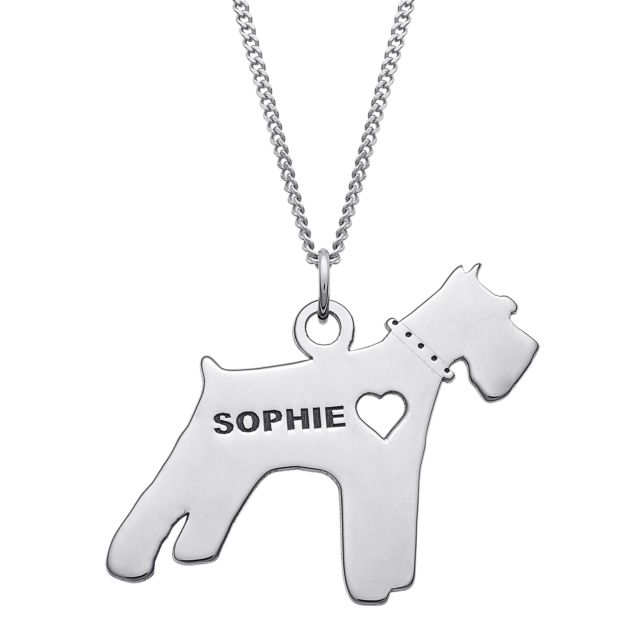 Sterling Silver Engravable Schnauzer Dog Necklace