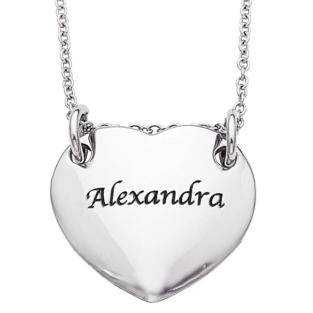 Stainless Steel Engraved Name Heart Necklace