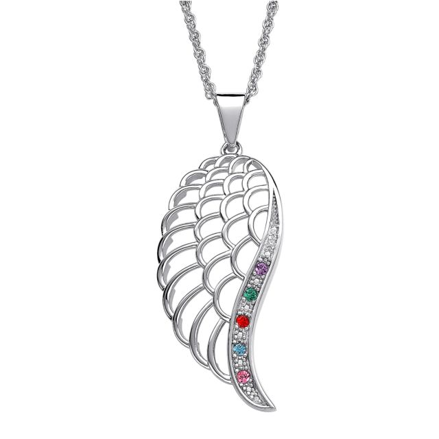 SterlingPLUS Platinum over Sterling Family Birthstone Angel Wing Necklace with Genuine Diamond