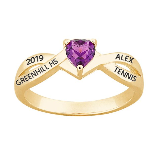 18K Gold over Sterling Heart Birthstone Class Ring