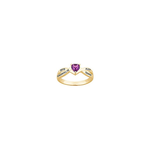 10K Yellow Gold Heart Birthstone Class Ring