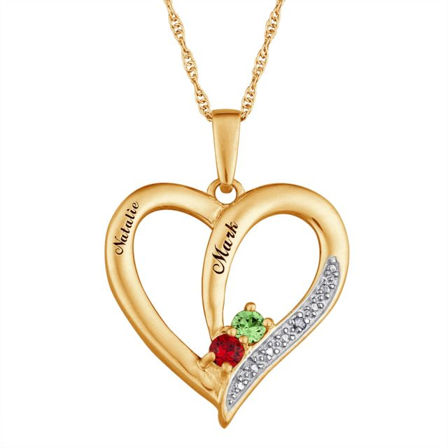 Gold over Sterling Birthstone & Name Heart Necklace