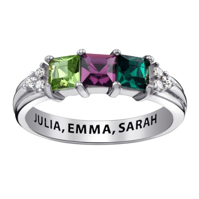 Sterling Silver Mother's Square Birthstone Ring with CZ Accents