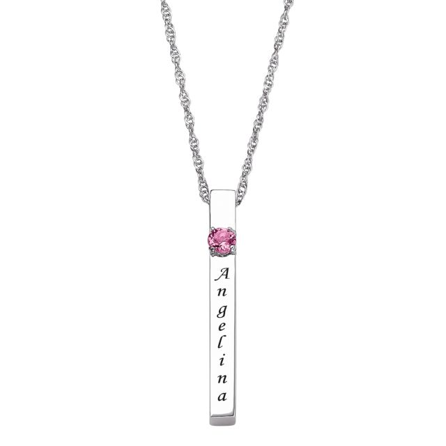 Sterling Silver Genuine Birthstone and Name Engraved Bar Necklace